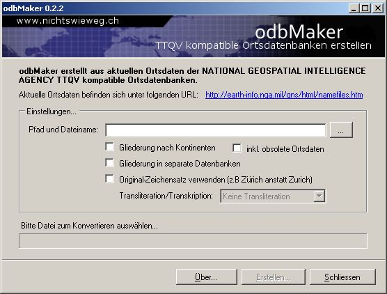 Screenshot der aktuellen odbMaker-Version